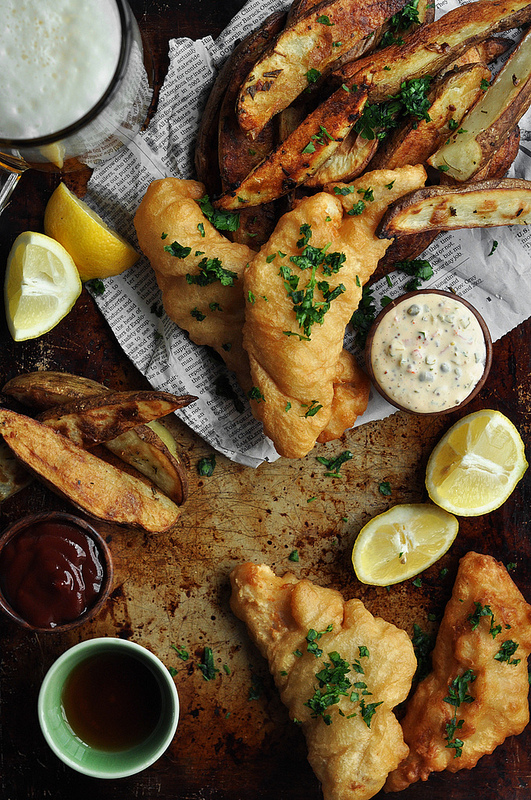Beer Battered Fish and Chips w/ Spicy Remoulade