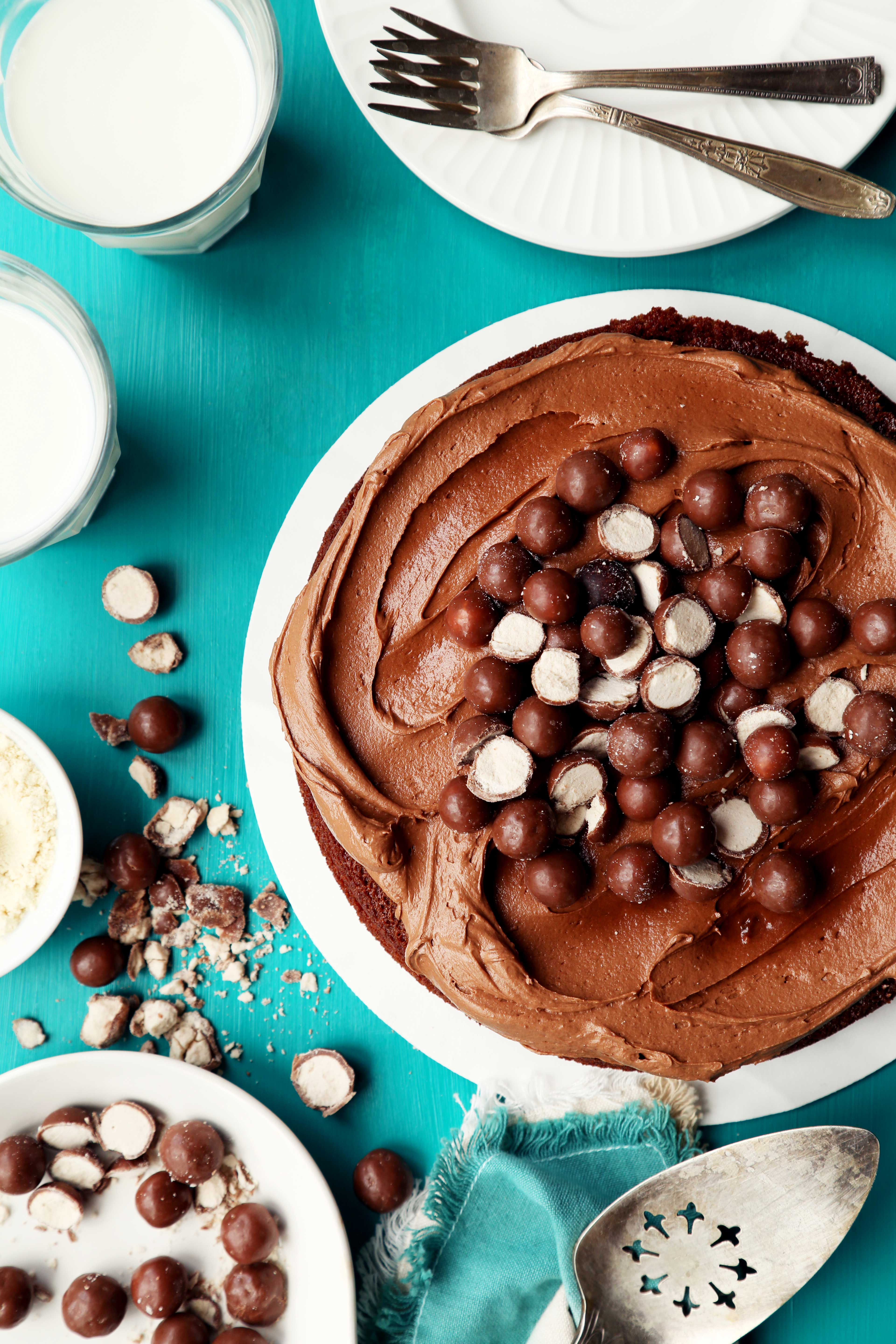 One-Bowl Chocolate Malt Cake