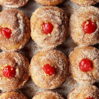 Strawberry Rhubarb Doughnut Muffins