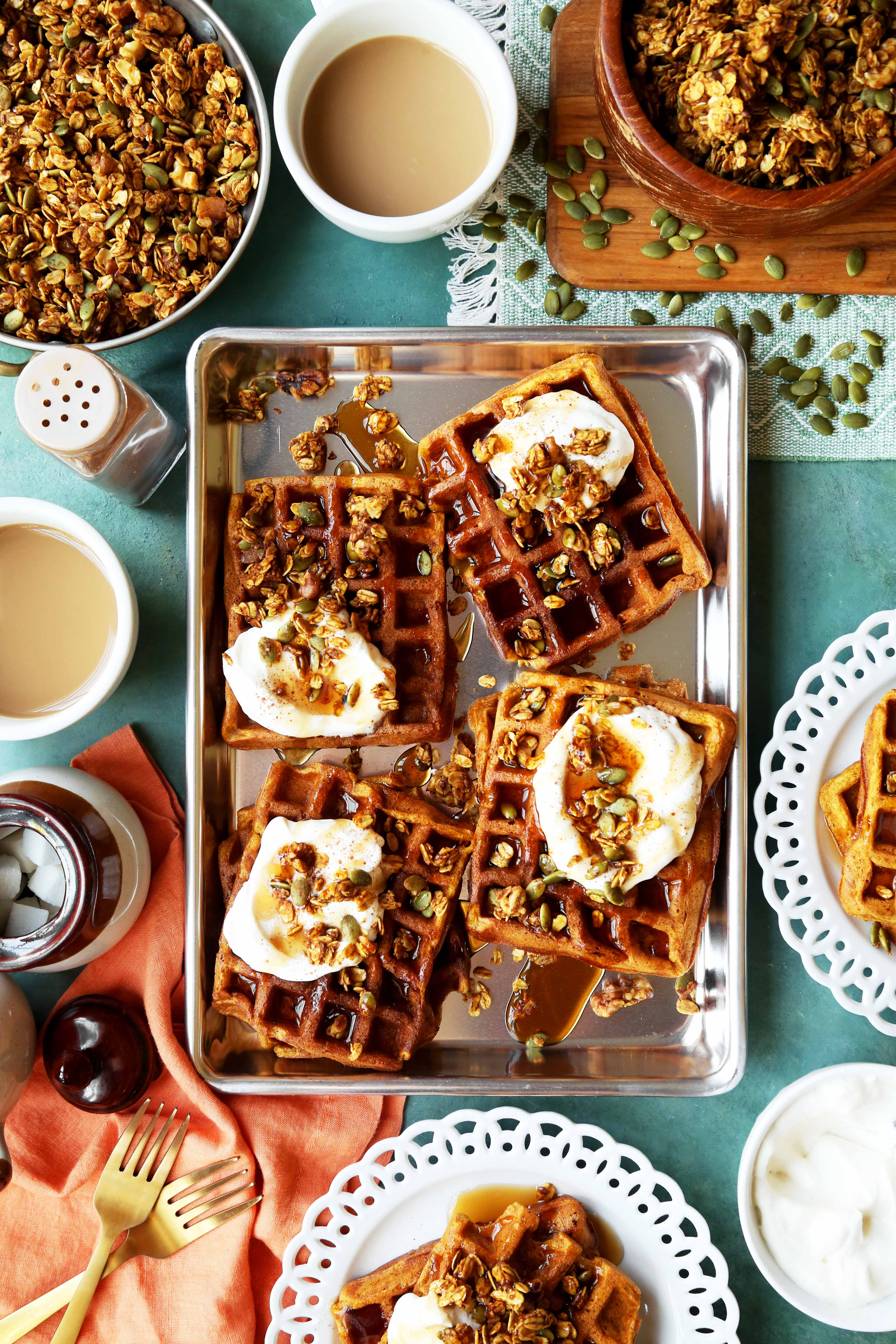 Pumpkin Pie Waffles with Pumpkin Granola