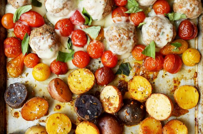Sheet Pan Turkey Caprese Meatballs