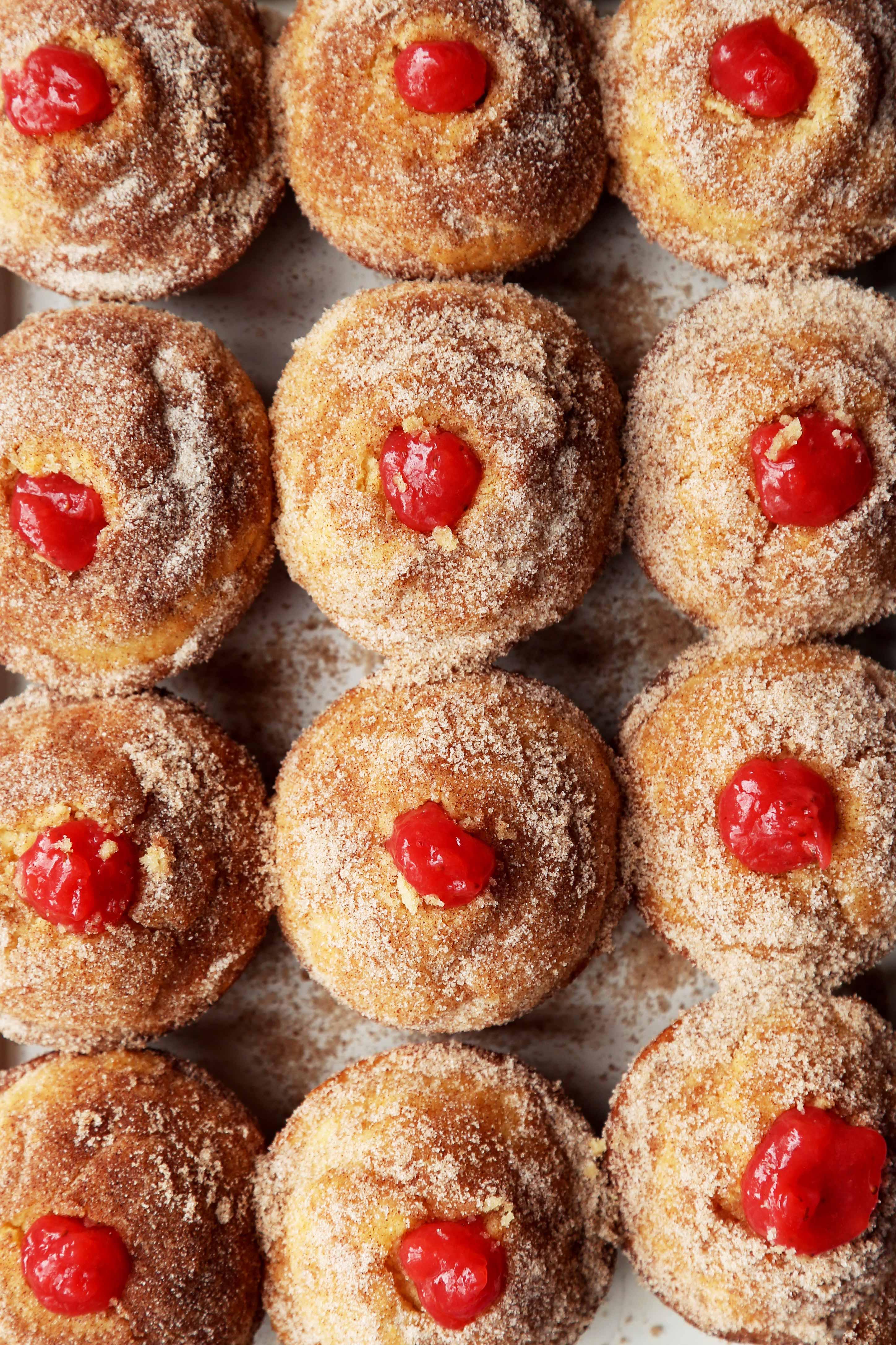 Strawberry Rhubarb Doughnut Muffins