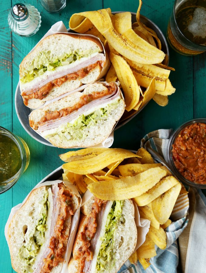 Spicy Pinto Bean and Ham Tortas