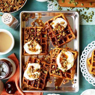 Pumpkin Pie Waffles with Pumpkin Granola