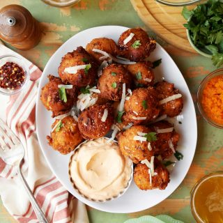 Spicy Sausage and Manchego Pumpkin Fritters