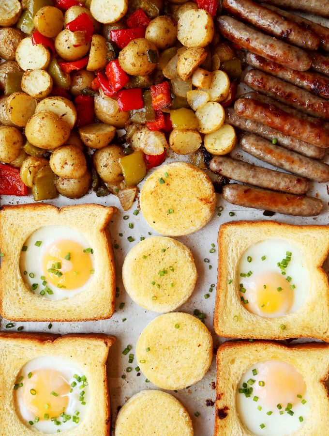 Sheet Pan Egg in a Hole with Sausage and Breakfast Potatoes