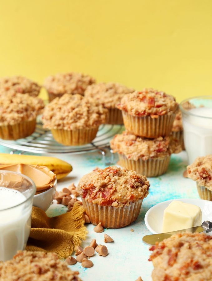 Peanut Butter Banana Muffins with Bacon Streusel