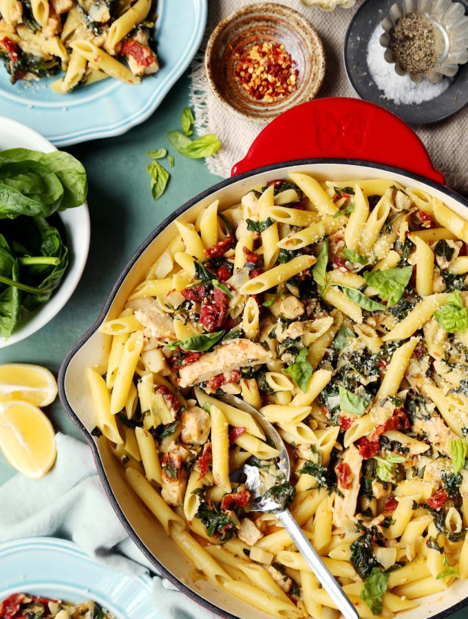 Spinach and Artichoke Pantry Pasta