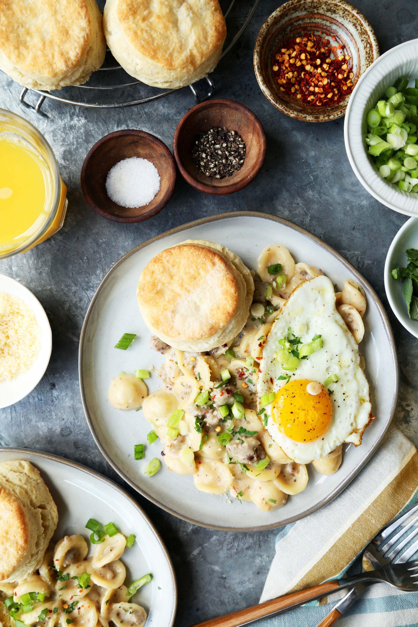 Biscuit and Sausage Gravy Breakfast Pasta